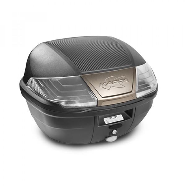 Bauletto Monolock Kappa K400 40lt nero con catadriotti trasparenti