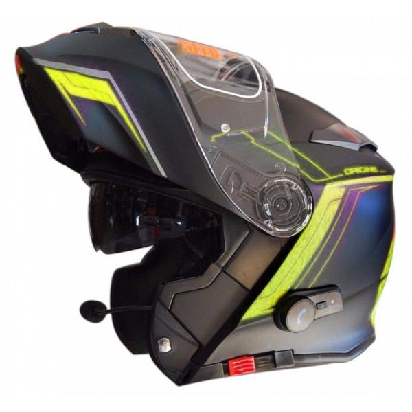 Casco moto modulare Origine Delta Motion nero lime opaco con interfono integrato