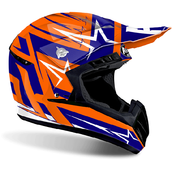 Casco cross Airoh Switch Startruck blu lucido