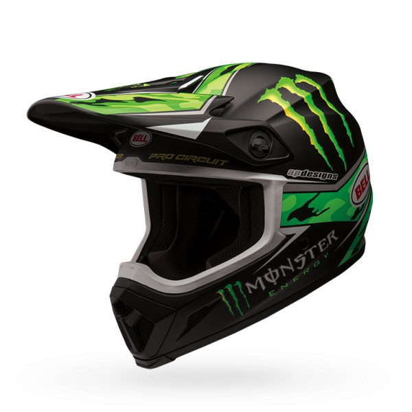 Casco cross Bell Mx-9 Mips Pro Circuit Replicla Monster verde camo