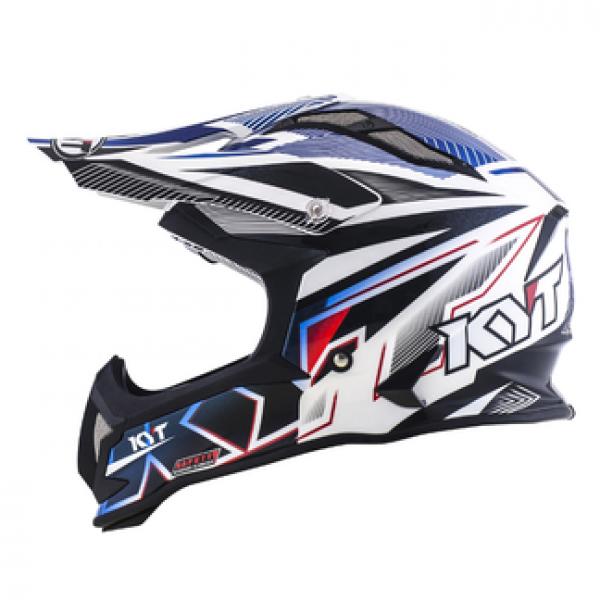 Casco cross KYT Strike Eagle Stripe in fibra bianco blu