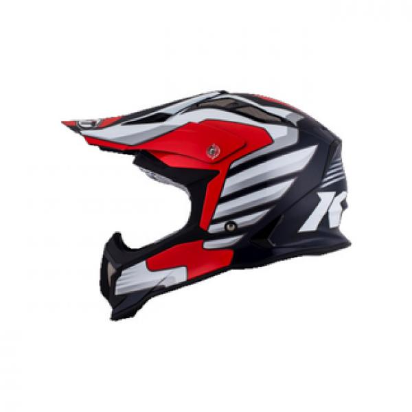 Casco cross KYT Strike Eagle Wings in fibra bianco rosso