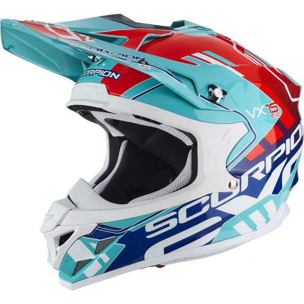 Casco cross Scorpion VX 15 EVO AIR ARGO Verde acqua Blu Rosso