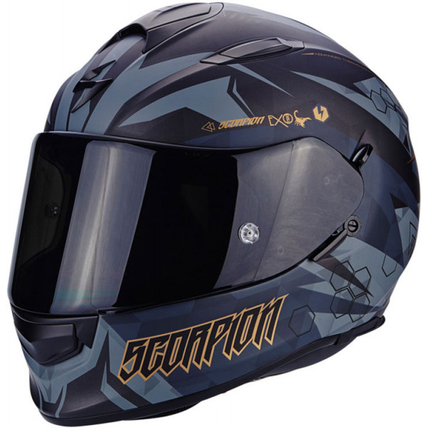 Casco integrale Scorpion Exo 510 Air Cipher Nero opaco Oro