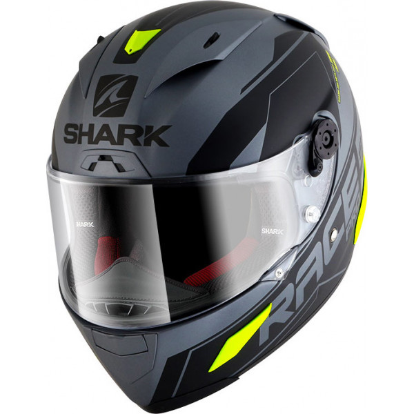 Casco integrale Shark RACE-R PRO SAUER Mat in carbonio Antracite Opaco Nero Giallo