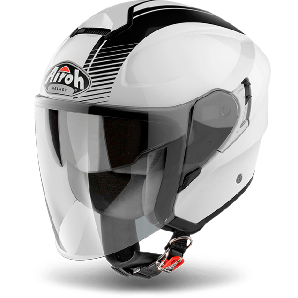 Casco jet Airoh Hunter Pinlock Ready Simple bianco lucido