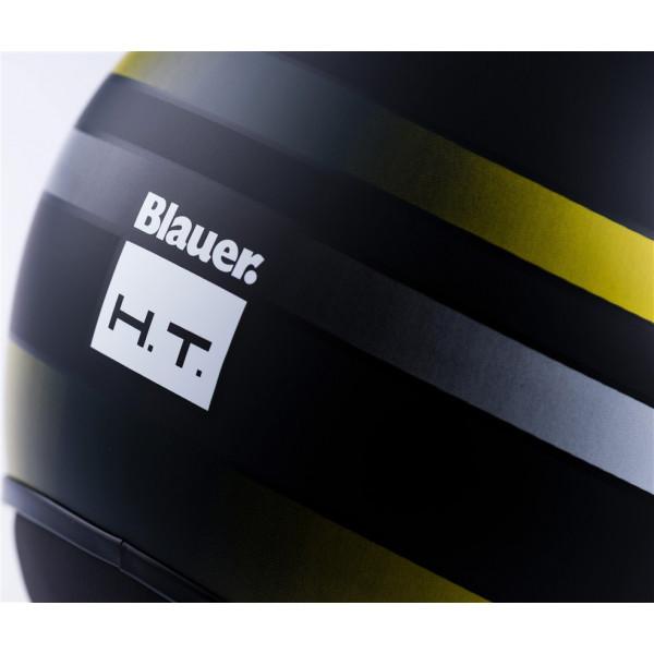 Casco jet Blauer POD STRIPES in fibra Nero Giallo Bianco Opaco