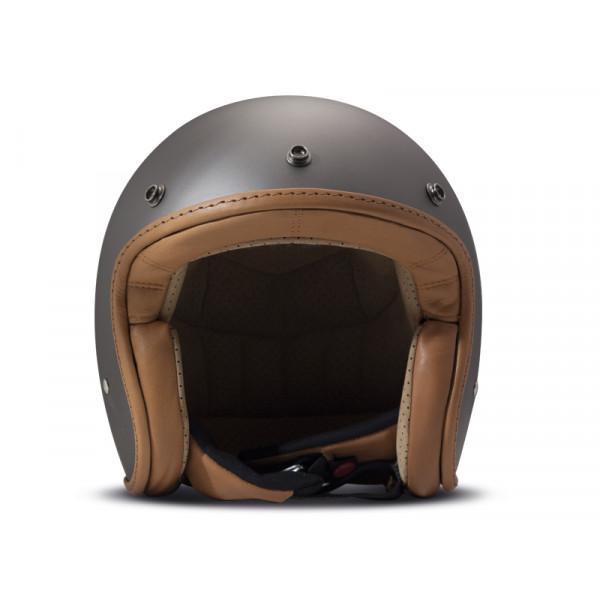 Casco Jet DMD Leather Vintage Pillow in carbonio Grigio Opaco Marrone