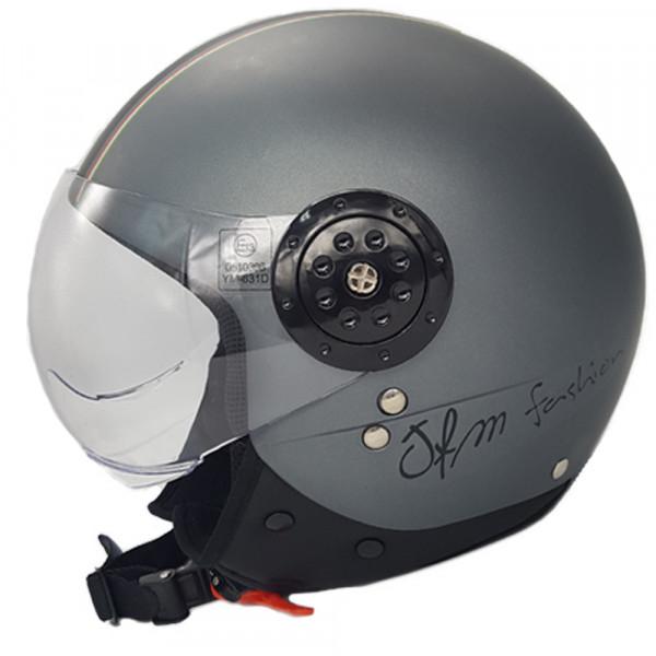 Casco demi  jet jfm grigio opaco con scritta scooter taglia xl