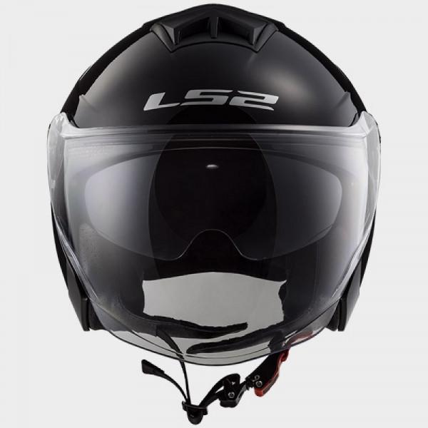 Casco jet LS2 OF573 Twister doppia visiera nero lucido