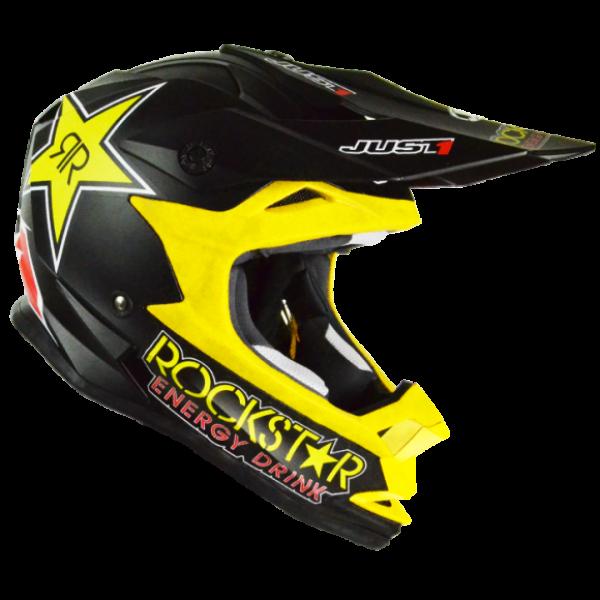 Casco moto cross Just1 J32 Rockstar Energy nero giallo