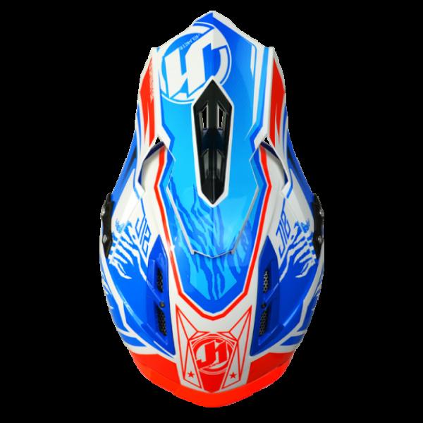 Casco moto cross Just 1 J12 Dominator in carbonio bianco rosso blu