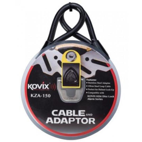 Cavo in acciaio Kovix KSA da 1,5m con adattatore per bloccadischi KAL10 e KAL14 Kovix