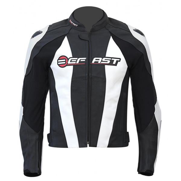 Giacca moto pelle racing Befast Active Nero Bianco