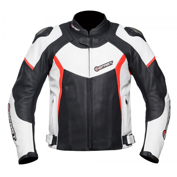 Giacca moto pelle racing Befast FastRide Nero Bianco