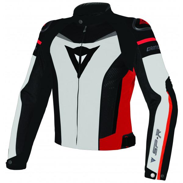 Giacca moto Dainese Super Speed Tex bianco nero rosso