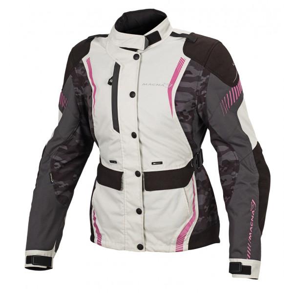 Giacca moto donna touring Macna Beryl WP camo nero grigio rosa