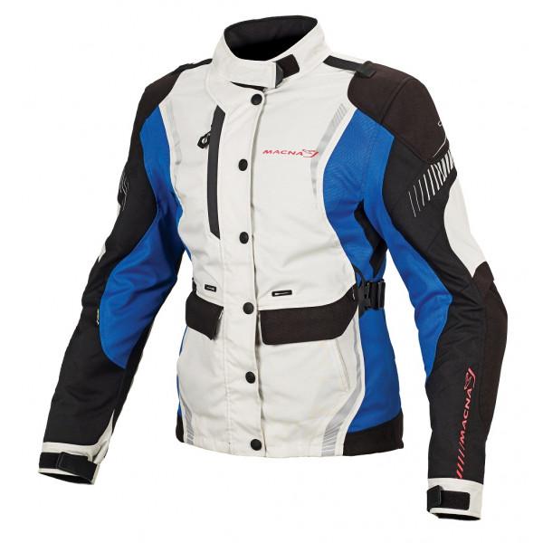 Giacca moto donna touring Macna Beryl WP nero grigio chiaro blu