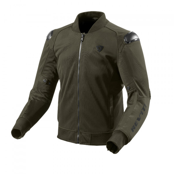 Giacca moto estiva Rev'it Traction Verde Scuro Nero