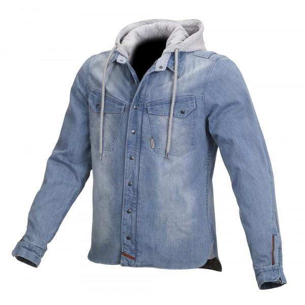 Giacca moto jeans Macna Westcoast con rinforzi in Kevlar blu chiaro grigio
