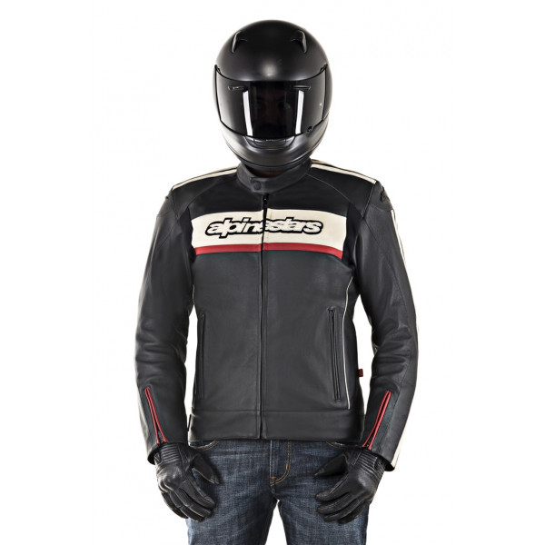 Giacca moto pelle Alpinestars DYNO V2 nero pietra rosso
