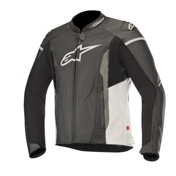 Giacca moto pelle Alpinestars FASTER nero bianco