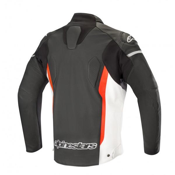 Giacca moto pelle Alpinestars FASTER nero bianco rosso fluo