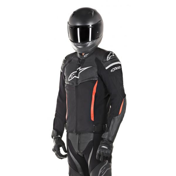 Giacca moto pelle Alpinestars SP X nero rosso fluo