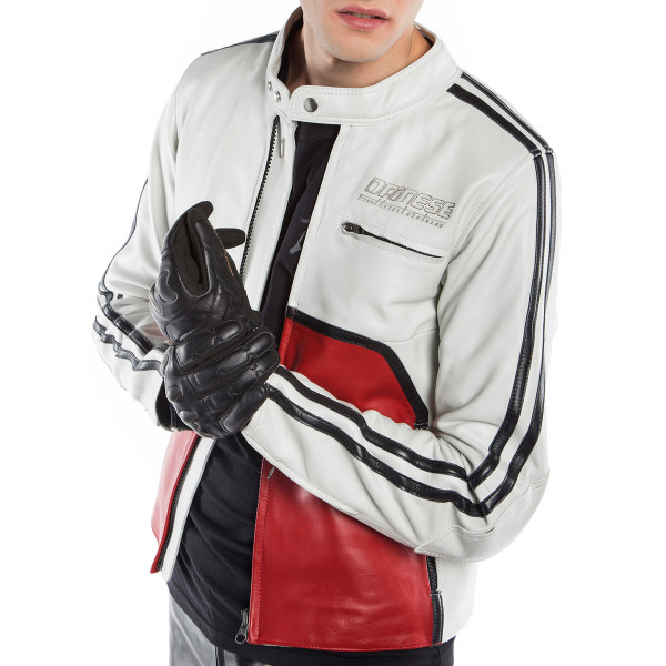 Giacca moto pelle Dainese72 TOGA72 Bianco Rosso