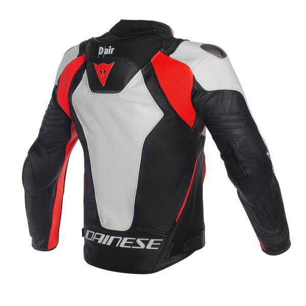 Giacca moto pelle Dainese Misano D-Air bianco nero rosso fluo