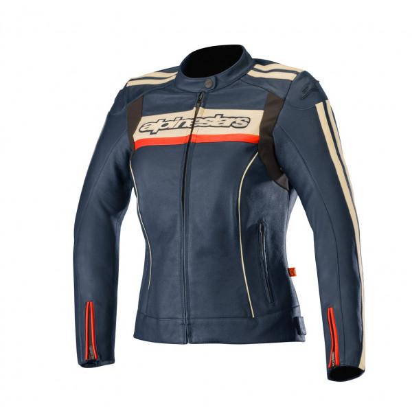 Giacca moto pelle donna Alpinestars STELLA DYNO V2 blu marino rosso
