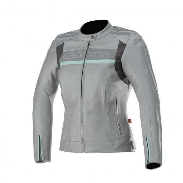 Giacca moto pelle donna Alpinestars STELLA DYNO V2 grigio verde acqua