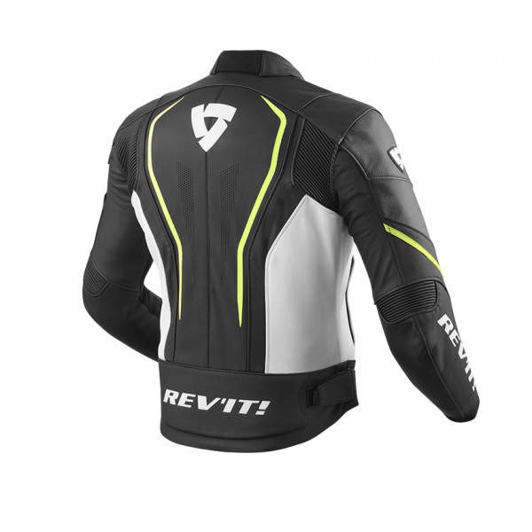 Giacca moto pelle estiva Rev'it Vertex GT Nero Giallo Neon