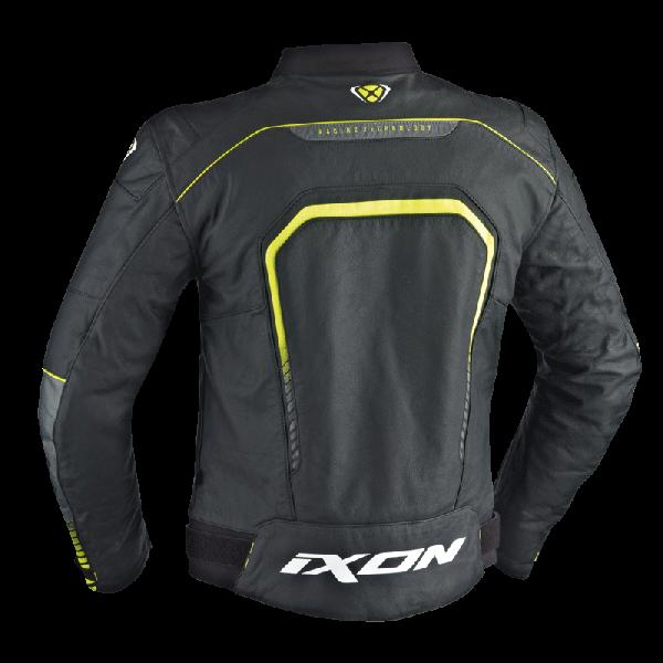 Giacca moto pelle Ixon FIGHTER nero bianco giallo