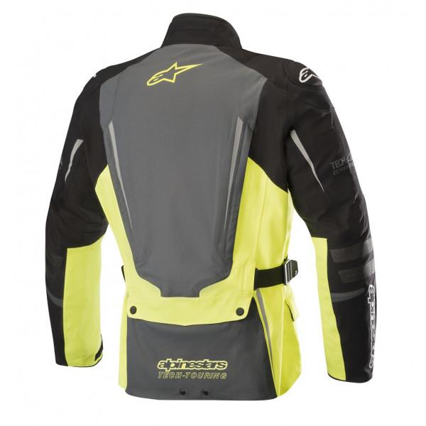 Giacca moto touring Alpinestars YAGUARA Drystar Tech-Air compatibile nero grigio scuro giallo fluo