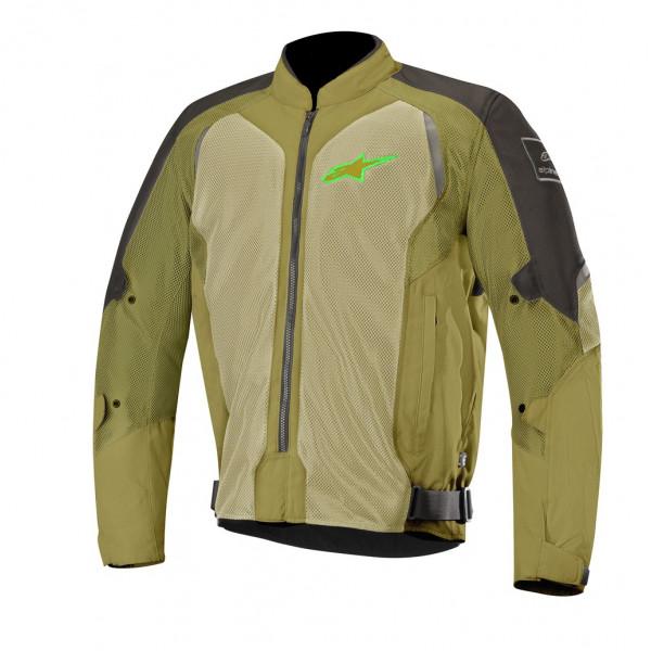 Giacca moto touring estiva Alpinestars WAKE AIR nero oliva verde fluo