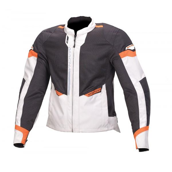 Giacca moto touring estiva Macna Event grigio chiaro nero arancio
