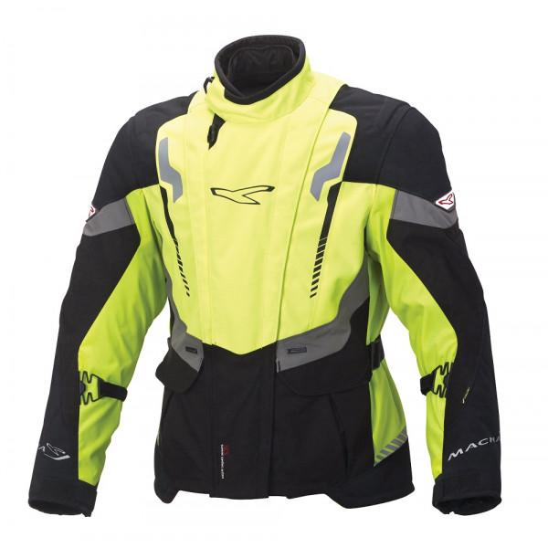 Giacca moto touring Macna Area WP 3 strati nero giallo fluo