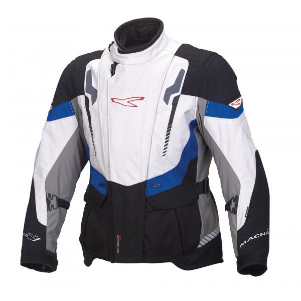 Giacca moto touring Macna Area WP 3 strati nero grigio chiaro blu