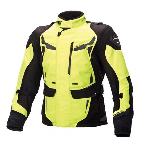 Giacca moto touring Macna Impact Pro WP nero giallo fluo