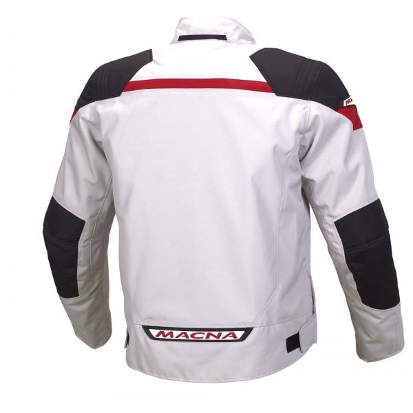 Giacca moto touring Macna Traction WP grigio chiaro nero rosso