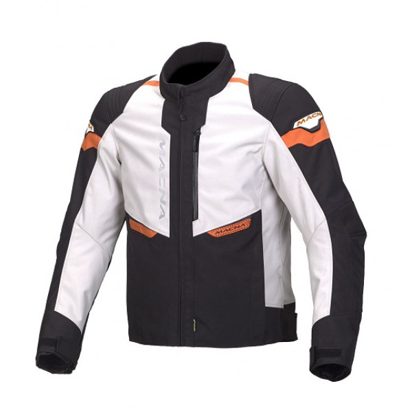 Giacca moto touring Macna Traction WP nero grigio chiaro arancio