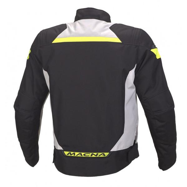 Giacca moto touring Macna Traction WP nero grigio chiaro giallo fluo