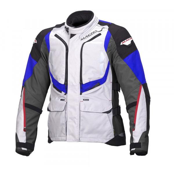 Giacca moto touring Macna Vosges WP 3 strati grigio chiaro nero canna di fucile blu
