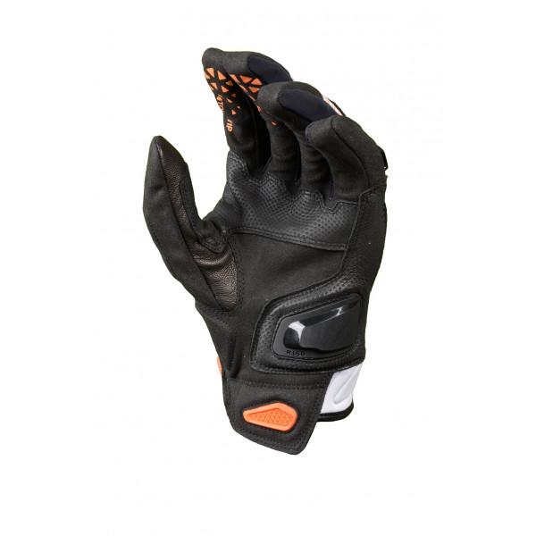 Guanti moto in pelle estivi Macna Assault nero arancio