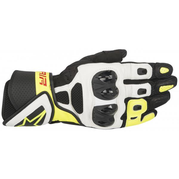 Guanti moto pelle Alpinestars SP Air nero bianco giallo fluo