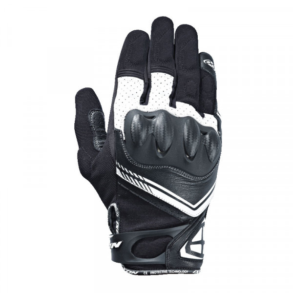 Guanti moto pelle e tessuto estivi Ixon RS DRIFT nero bianco