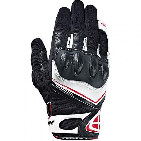 Guanti moto pelle e tessuto estivi Ixon RS DRIFT nero bianco rosso