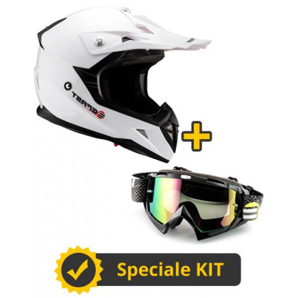 Kit Dust Muddy Bianco - Casco Cross Befast Dust + Occhiali Cross Muddy Nero