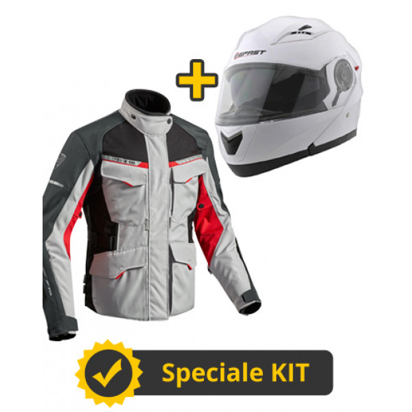 Kit Outback 2 Modular Way - Giacca 3 strati Rev'it Outback 2 Argento Rosso + Casco modulare Befast Modular Way Bianco